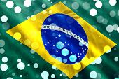 image of brazilian carnival  - Brazilian flag closeup with confetti falling for Brazilian Carnival - JPG