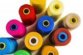Colored fine thread bobbins