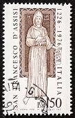 ITALY - CIRCA 1976: a stamp printed in Italy celebrates San Francesco d'Assisi (Saint Francis of Ass