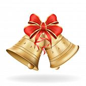 stock photo of christmas bells  - Christmas bells with red bow on white background - JPG