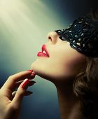 foto of mouth  - Beautiful Woman with Black Lace mask over her Eyes - JPG