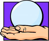 picture of seer  - hand holding a crystal ball - JPG