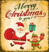 image of christmas claus  - Vintage Christmas card with cute Santa claus and Christmas elf - JPG