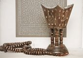 image of prayer beads  - Islamic art and prayer beads with an incense burner suggesting a meditative theme - JPG