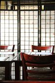 Interior of a modern japanese restaurant with rice paper screen