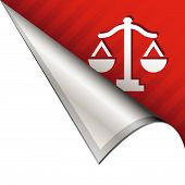 stock photo of scales justice  - Scales of justice icon on vector peeled corner tab suitable for use in print - JPG