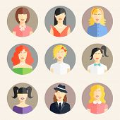stock photo of emo  - Vector collection of women avatars in flat style - JPG