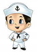 image of kiddie  - Cute cartoon illustration of a sailor isolated on white - JPG