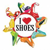 stock photo of shoes colorful  - Set of Colorful fashion women - JPG