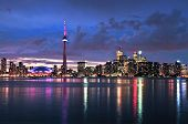 Scenic view at Toronto city waterfront skyline at night
