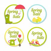 image of songbird  - Set of four circular Spring Sale labels with simple frames enclosing the text with one depicting the rain  one Easter  one gardening and tulips and the last songbirds for advertising and marketing - JPG