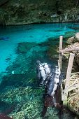 pic of cenote  - Sub are preparing for diving in a cenote Mexico