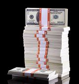 image of 100 dollars dollar bill american paper money cash stack  - stack of dollars isolated on a black background - JPG