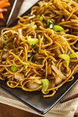 pic of lo mein  - Asian Chow Mein Noodles with Vegetables and Chopsticks - JPG