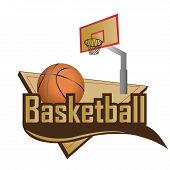 stock photo of basketball  - a basketball ball in a corner and a basketball net - JPG