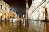 picture of palladium  - Night view of the marvellous Piazza dei Signori in vicenza with the wonderful Basilica PAlladiana work of architect Andrea Palladio and the Loggia del Capitaniato - JPG