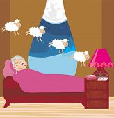 image of counting sheep  - old lady counting sheep to fall asleep  - JPG