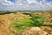 View of Red Deer river valley in Badlands in Dinosaur provincial park, Alberta, Canada
