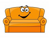 stock photo of settee  - Cartoon upholstered orange couch - JPG
