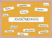 foto of enzyme  - Antioxidants Corkboard Word Concept with great terms such as enzymes health foods and more - JPG