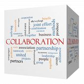 picture of collaboration  - Collaboration 3D cube Word Cloud Concept with great terms such as together people teams and more - JPG