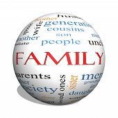 stock photo of niece  - Family 3D sphere Word Cloud Concept with great terms such as loving parents home and more - JPG