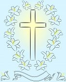 picture of easter lily  - easter lily and cross on blue background - JPG