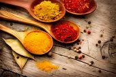 Spices. Spice over Wood. Herbs. Curry, Saffron, turmeric, cinnamon and other over wooden background