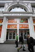 NEW YORK CITY - OCT 23 2013: Shoppers walk past The Home Depot retail home improvement store in Manh