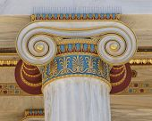 stock photo of ionic  - colorful classical Ionic column capital close up - JPG