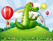Illustration of a crocodile reading at the hilltop with a rainbow