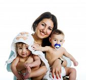 picture of baby twins  - Mom with her twin sons isolated white background - JPG