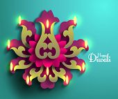 picture of kolam  - Vector Diwali Diya  - JPG