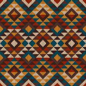 image of aztec  - Vector illustration of seamless tribal knitted wool aztec design pattern - JPG