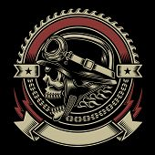 stock photo of clubbing  - fully editable vector illustration of biker skull emblem isolated on black background - JPG