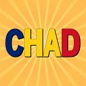stock photo of chad  - Chad flag text with sunburst vector illustration - JPG