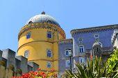 image of palace  - Pena National Palace (Portuguese: Pal�cio Nacional da Pena) is a Romanticist palace in Sintra, Portugal. Pena National Palace is UNESCO World Heritage Site since 1995. - JPG