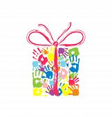 pic of daycare  - Gift box with bow of the handprints of father mother and children - JPG