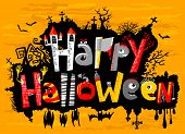 stock photo of happy halloween  - Happy Halloween cute greeting card lettering with bats - JPG