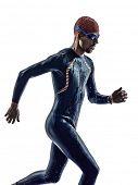 stock photo of triathlon  - man triathlon iron man athlete swimmers swimmers running in silhouette on white background - JPG