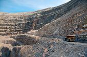 pic of open-pit mine  - Modern Diamond Mine In Udachny - JPG