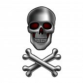 pic of skull cross bones  - metal skull with crossed bones - JPG
