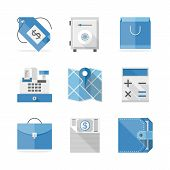 stock photo of economy  - Flat icons set of retail and commerce objects financial service items shopping and money economy sign and symbol - JPG
