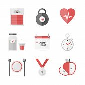 image of cardio exercise  - Flat icons set of fitness dieting weight loss activity wellness and healthcare healthy food eating - JPG