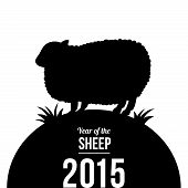 pic of sheep  - 2015 New year card with sheep silhouette - JPG
