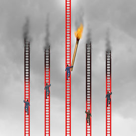 foto of competing  - Competition in business concept as a group of business people climbing red ladders competing for the top but one aggressive person as a game changer uses a giant match to stop their path to success - JPG