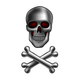 stock photo of skull cross bones  - metal skull with crossed bones - JPG