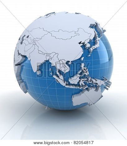 Постер, плакат: Globe with extruded continents Europe and Africa region, холст на подрамнике