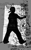 stock photo of graffiti  - Symbolic image of a man who paints graffiti - JPG
