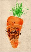 pic of carrot  - Happy easter carrot poster painted pastel colored stylized kids style on kraft paper - JPG